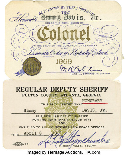 Sammy's Colonel and Deputy Sheriff ID Cards  A card identifying