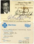 Movie/TV Memorabilia:Memorabilia, Sammy's Press and Blue Cross Cards. A Blue Cross card for a S.A.G. medical coverage plan issued to Sammy on October 1, 1977 ...