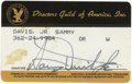 Movie/TV Memorabilia:Memorabilia, Sammy's Directors Guild of America Card. A DGA membership carddated 1988, issued to and signed by Sammy in black ink. In Ex...