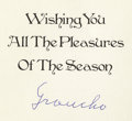 """Movie/TV Memorabilia:Memorabilia, Sammy's Christmas Card from Groucho Marx. A Christmas card toSammy, signed """"Groucho"""" in blue ink. In Excellent condition. ..."""