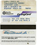 Movie/TV Memorabilia:Memorabilia, Sammy's Calling Cards. At&T and Pacific Telephone internationalcalling cards issued to Sammy, in Excellent condition with m...