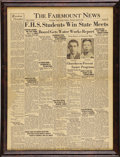 Movie/TV Memorabilia:Memorabilia, James Dean First Place Winner Fairmount News Front Page. An April14, 1949, edition of The Fairmount News featuring a fr...