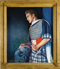 "Movie/TV Memorabilia:Original Art, Large Oil Painting of James Dean as Malcolm in ""Macbeth,"" Paintedby Kenneth Kendall, in Heavy Golden Frame. When James Dean..."