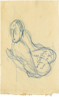 """James Dean Risque """"Be My Valentine"""" Sketch. A wide-eyed male, in supine position, with """"Be my Valentine&q..."""
