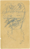 Movie/TV Memorabilia:Original Art, James Dean Sketch of a Woman's Face. The woman looks like GeraldinePage -- the very feminine collar resembles that of one o...