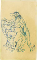 Movie/TV Memorabilia:Original Art, James Dean Nude Figure Studies. A compelling trio, with the nudefemale clearly enjoying straddling and sampling her two mal...