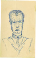 Movie/TV Memorabilia:Original Art, James Dean Sketch of a Well-Dressed Gentleman. Rather dissipated, pampered-looking male character; his hairstyle and costume...