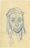 "Movie/TV Memorabilia:Original Art, James Dean Portrait Study of an Arab from ""The Immoralist."" One of the best of the James Dean bunch: a diabolic sketch of a ..."