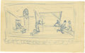 "Movie/TV Memorabilia:Original Art, James Dean ""The Immoralist"" Stage Scene Sketch. Evocative sketch byDean of one of the sets from The Immoralist, with fi..."