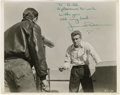 Movie/TV Memorabilia:Original Art, Incredible James Dean Inscribed Photo. Absolutely iconic shot ofJames Dean, switchblade in hand, in the famous Griffith Obs...