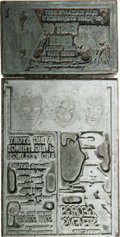 "Movie/TV Memorabilia:Memorabilia, Original Printing Plates for ""East of Eden"" and ""Giant"" PromoMaterials. These two small printing plates were used by the Na..."