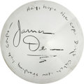 Movie/TV Memorabilia:Autographs and Signed Items, James Dean Signed Hubcap. A fan of motorcycles and sports cars,James Dean was an avid motorist with a short but impressive ...
