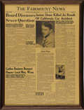 Movie/TV Memorabilia:Memorabilia, Fairmount News Front Page Death of James Dean Feature. An October6, 1955, edition of The Fairmount News with a front-...