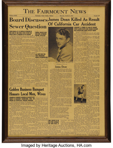 Fairmount News Front Page Death of James Dean Feature  An