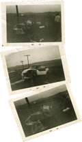 "Movie/TV Memorabilia:Photos, Rare Original Photos from the Accident that Killed James Dean. Three vintage 4.5"" x 3.5"" b&w photos taken by Don Dooley shor..."