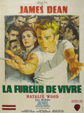 "Movie/TV Memorabilia:Posters, ""Rebel Without a Cause"" (Warner Brothers, 1955). French Grande (47""X 63""). With paper loss at the folds and minor toning, t..."