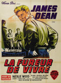 "Movie/TV Memorabilia:Posters, ""Rebel Without a Cause"" (Warner Brothers, 1955). French Grande (47""X 63""). With a little bit of paper loss at the folds and..."