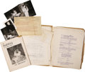 """Movie/TV Memorabilia:Memorabilia, Personal Effects of Geraldine Page, James Dean's Co-star inBroadway's """"The Immoralist,"""" Including her Annotated Script,Playb..."""