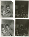 "Movie/TV Memorabilia:Photos, Two Photos of James Dean Shaving on Set of ""Rebel"" with Negatives.Wonderful candids of Jimmy, shaving with an electric shav...(Total: 2 )"