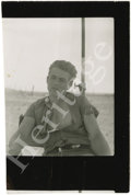 "Movie/TV Memorabilia:Photos, James Dean Rare Snapshot. A rare, unpublished b&w 3"" x 3.5""photo of Dean at an outdoor location believed to be the set of ..."