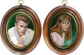 Movie/TV Memorabilia:Memorabilia, James Dean and Julie Harris Portraits. Set of two painted-porcelainminiatures by Kenneth Kendall of Dean and his East of ...