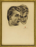 Movie/TV Memorabilia:Original Art, James Dean Charcoal Drawing by Kenneth Kendall. Kenneth Kendall's first drawing of Dean, created after the actor's visit to ...