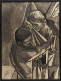 "Movie/TV Memorabilia:Original Art, Kenneth Kendall ""Jacob Wrestles the Angel"" James Dean Drawing. Alarge charcoal sketch drawn by Kendall in 1956, titled Ja..."