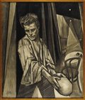 Movie/TV Memorabilia:Original Art, Large Kenneth Kendall Charcoal Drawing of James Dean. Circa 1956,this large charcoal cubist drawing features Dean as Hamlet...