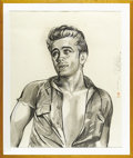 "Movie/TV Memorabilia:Original Art, Kenneth Kendall Charcoal Drawing of James Dean in ""Giant."" Drawingof Dean in an iconic pose from his final film, matted and..."