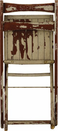 """Movie/TV Memorabilia:Props, George Stevens' Folding Chair from the Set of """"Giant."""" This woodenfolding chair from the set of the movie (for which Steven..."""