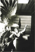 "Movie/TV Memorabilia:Photos, Photo of James Dean with Eagle Statue by Sanford Roth. A beautiful 12.5"" x 19"" b&w photo of James Dean sitting near a statue..."