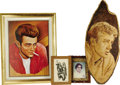 "Movie/TV Memorabilia:Memorabilia, James Dean Fan Art. Included is burnt-wood profile portrait of Deanon a 32"" x 14"" piece of wood; a portrait print by Shteim..."