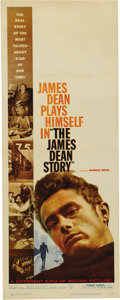 "Movie/TV Memorabilia:Posters, ""The James Dean Story"" (Warner Brothers, 1957). Insert (14"" X 36"")and Window Card (14"" X 22""). This documentary, directed b...(Total: 2 Items)"