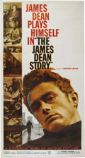 "Movie/TV Memorabilia:Posters, ""The James Dean Story"" (Warner Brothers, 1957). Three Sheet (41"" X81""). This original release three sheet for Robert Altman..."
