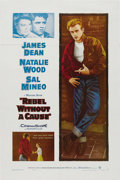 "Movie/TV Memorabilia:Posters, ""Rebel Without a Cause"" (Warner Brothers, R-1957). One Sheet (27"" X 41""). Following James Dean's tragic death, Warner Brothe..."