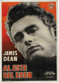 "Movie/TV Memorabilia:Posters, ""East of Eden"" (Films S.A., R-1969). Spanish One Sheet (27"" X 39"").This folded 1969 re-release Spanish one sheet features a..."