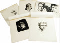 Movie/TV Memorabilia:Original Art, Original Robert W. Richards Drawings of James Dean. Four pencilsketches of Dean and one pen-and-ink sketch of Dean, Natalie...