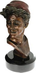 "Movie/TV Memorabilia:Memorabilia, James Dean Bust by Kenneth Kendall. A 12"" bronze bust of the actorbased on his role in the Broadway play The Immoralist,..."