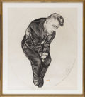"Movie/TV Memorabilia:Original Art, James Dean ""The Sleeping Prince"" Painting by Kenneth Kendall.Charcoal drawing by Kendall, 1986, based on the opening scene ..."