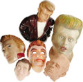 "Movie/TV Memorabilia:Memorabilia, Rare James Dean Masks and Art. Included are a 14"" clay bust, arubber full-head James Dean mask, a French-made celluloid fac..."