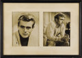 """Movie/TV Memorabilia:Photos, Original James Dean Photos from Adeline Nall's Collection. A pairof b&w 8"""" x 10"""" publicity stills of Dean that were once di..."""