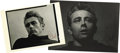 Movie/TV Memorabilia:Autographs and Signed Items, James Dean Postcards Signed by Roy Schatt. Two b&w postcardsbearing the likeness of James Dean as photographed by Roy Scha...