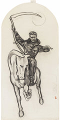 "Movie/TV Memorabilia:Original Art, James Dean ""Pale Horseman"" Charcoal Drawing by Kenneth Kendall. A22"" x 44"" charcoal drawing of James Dean as a Horseman of ..."