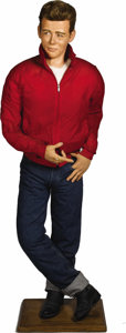 """Movie/TV Memorabilia:Memorabilia, James Dean Life-Size """"Rebel Without a Cause"""" Figure. Life-sizelikeness of Dean as Jim Stark in the 1954 movie, with detaile..."""