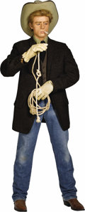"""Movie/TV Memorabilia:Memorabilia, James Dean in """"Giant"""" Life-Size Figure. Life-size likeness of Dean as Jett Rink in the 1956 movie, with detailed costume, ro..."""