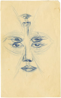James Dean Double-Mirrored Facial Feature Sketch. Excellent and rather mystical sketch by Dean, a funhouse double reflec...