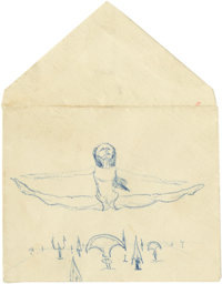 James Dean Grimacing Ballerina Jumping Over Blades Sketch. Baroque ballerina, with anguished face, leaping over (or mayb...