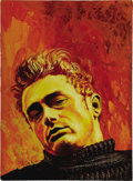 Movie/TV Memorabilia:Original Art, Mike Hinge Oil Painting of James Dean. This haunting, orange-hued oil portrait of Dean is by the late Mike Hinge, a New Zea...
