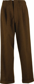 "Movie/TV Memorabilia:Costumes, Brown Trousers Worn by James Dean in ""Rebel Without a Cause."" These brown wool Forstmarr trousers were worn by Dean in his s..."