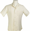 "Movie/TV Memorabilia:Costumes, Shirt Worn by James Dean in ""East of Eden."" Cream-colored cottonshirt worn by Dean in his first lead role in Elia Kazan's ..."